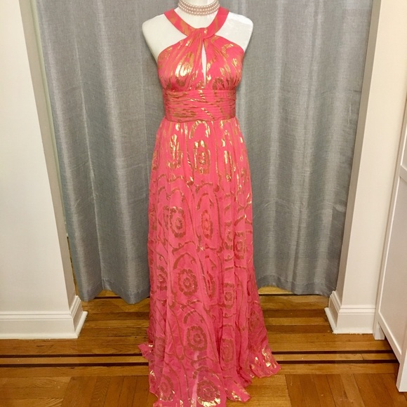 b883715c0a Aidan Mattox Dresses & Skirts - Aidan Mattox Pink and gold 77%silk gown